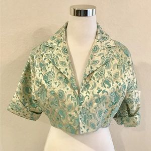 Walter Brocade  Gold Green Cropped Jacket size 6